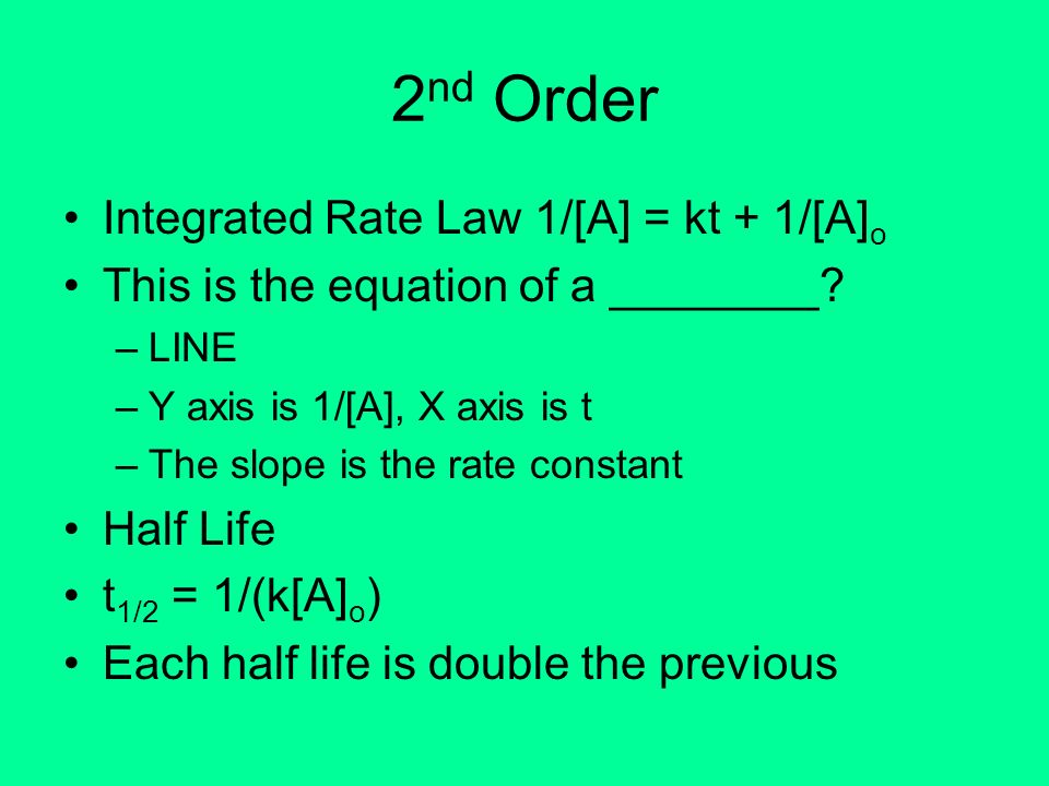 2nd Order Integrated Rate Law 1/[A] = kt + 1/[A]o
